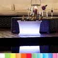 8-Seasons-Design-Leuchtobjekt, Getränkekühler, Weiß, Ø 50 x H 29 cm, Indoor/Outdoor, LED-Farbw./Fernbed., CE IP68, mit Akku