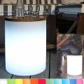 8-Seasons-Design-Leuchtobjekt, Trommel, Weiß,  Ø 37 x H 45 cm, Indoor/Outdoor, LED-Farbw./Fernbed., CE IP44, Netzstecker, 5 m Kabel