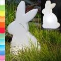 8-Seasons-Design-Leuchtobjekt, Hase, Weiß, H 70 x B 40 x T 16 cm, Indoor/Outdoor, LED-Farbw./Fernbed., CE IP44, Netzstecker, 5 m Kabel
