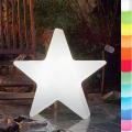 8-Seasons-Design-Leuchtobjekt, Stern, Weiß, Ø 60 x T 14 cm, Indoor/Outdoor, LED-Farbw./Fernbed., CE IP44, Netzstecker, 5 m Kabel