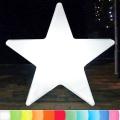 8-Seasons-Design-Leuchtobjekt, Stern, Weiß, Ø 100 x T 18 cm, Indoor/Outdoor, LED-Farbw./Fernbed., CE IP44, Netzstecker, 5 m Kabel
