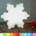 8-Seasons-Design-Leuchtobjekt, Kristall, Weiß, Ø 60 x T 15 cm, Indoor/Outdoor, LED-Farbw./Fernbed., CE IP44, Netzstecker, 5 m Kabel