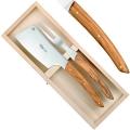 Thiers Käse Servier Set 2-tlg., Käsebeil u. Käsegabel in Box, L 21 cm, Olivenholz