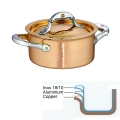 Ruffoni Symphonia Cupra Stock Pot small with lid, hammered polished copper/stainless steel, Ø 16 x h 8 cm, 1.5 l