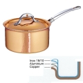 Ruffoni Symphonia Cupra Casserole with lid, hammered polished copper/stainless steel, Ø 20 x h 11 cm, 3.5 l