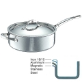 Ruffoni Symphonia Prima Induction Sauté Pan with lid, hammered polished stainless steel Ø 26 x h 9 cm, 5.0 l