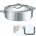 Ruffoni Symphonia Prima Induction Stock Pot low with lid, hammered polished stainless steel Ø 30 x h 9.5 cm, 7.0 l
