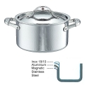 Ruffoni Symphonia Prima Induction Stock Pot high with lid, hammered polished stainless steel Ø 20 x h 11 cm, 3.5 l