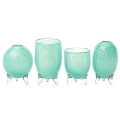DutZ®-Collection Vases Set Evita, 4 different tripod vases, h 12/14/15/16 x Ø 9.5 cm, jade