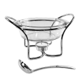 Edzard Gravy Pot/Gravy Warmer Set with ladle, shiny silver plated/glass, h 13 x Ø 17/22 cm, capacity 0.65 l