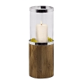 Edzard Lantern/Windlight Lowell, shiny nickel plated/glass/Teak wood, h 68 x Ø 24 cm