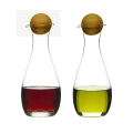 Sagaform Design Oil and Vinegar Set, mouthblown glass with oak wood stoppers, h 19 x Ø 7 cm