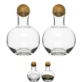 Sagaform Design Serving Set, mouthblown glass with oak wood stoppers, h 10 x Ø 8 cm