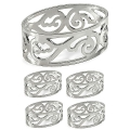 Edzard Napkin Rings Vita, set of 4, oval, shiny silver plated non tarnishing, Ø 5 cm