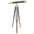 Telescope with Tripod, leather coated, magnification x 8, l 69 cm, tripod brown with brass fittings, h 130 x Ø 80 cm