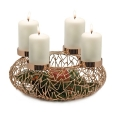 Edzard Advent Wreath Milano, shiny nickel plated, copper look, h 12 x Ø 34 cm, candle holder Ø 8.5 cm