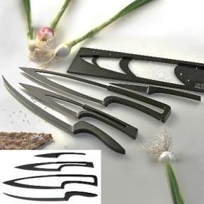 Déglon MEETING, 4er Messerset m.Block, Edelstahl, schwarz Teflon beschichtet, Gemüse-, Koch-, Fleisch- u. Filetiermesser, L 9, 17, 22, 24 cm