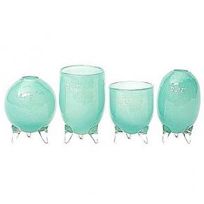 DutZ®-Collection Vases Set Evita, 4 different tripod vases, h 12/14/15/16 x Ø 9.5 cm, jade
